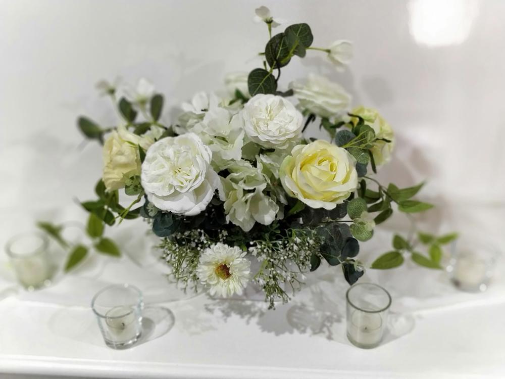 White silk florals in square vase