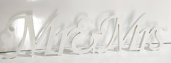 Free Standing White wood Mr and Mrs Sign