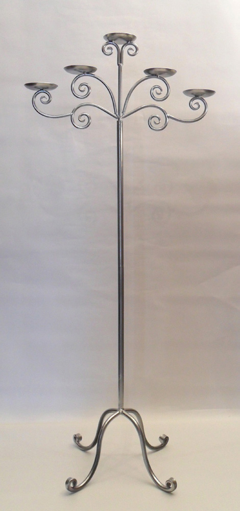 Silver 5 arm floor candelabra