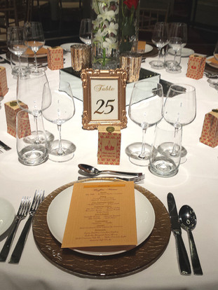 Menus and table numbers at Crown