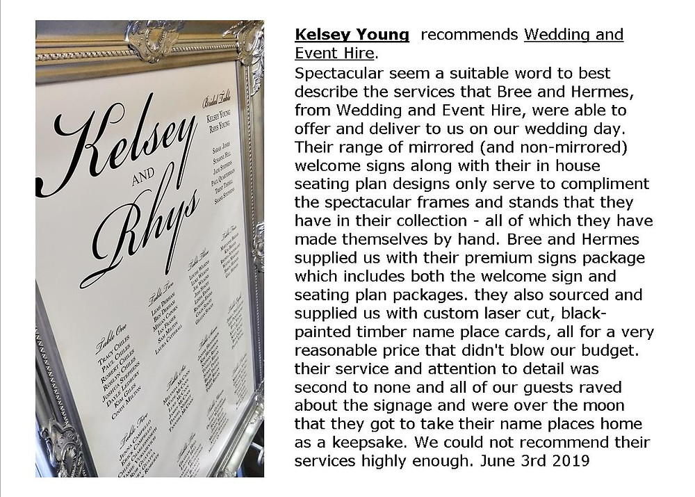 Amazing review about our wedding services from Kelsey and Rhys.  Read more on our website.