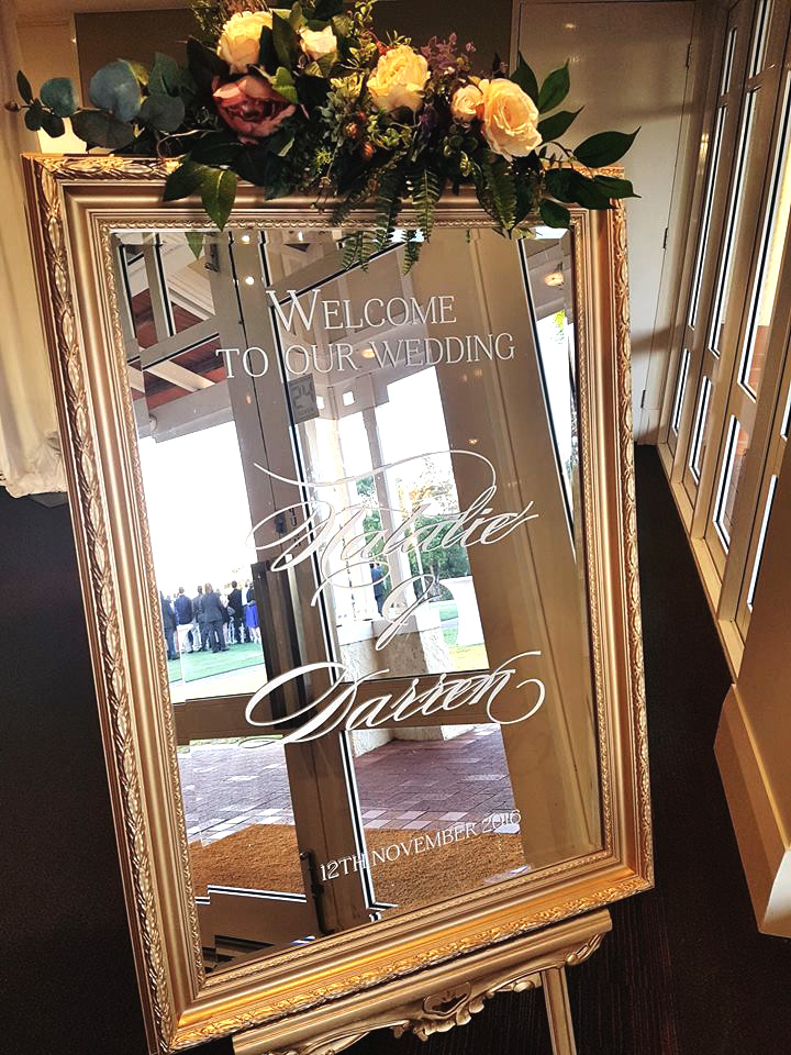Gold Luxe Mirror Welcome Sign