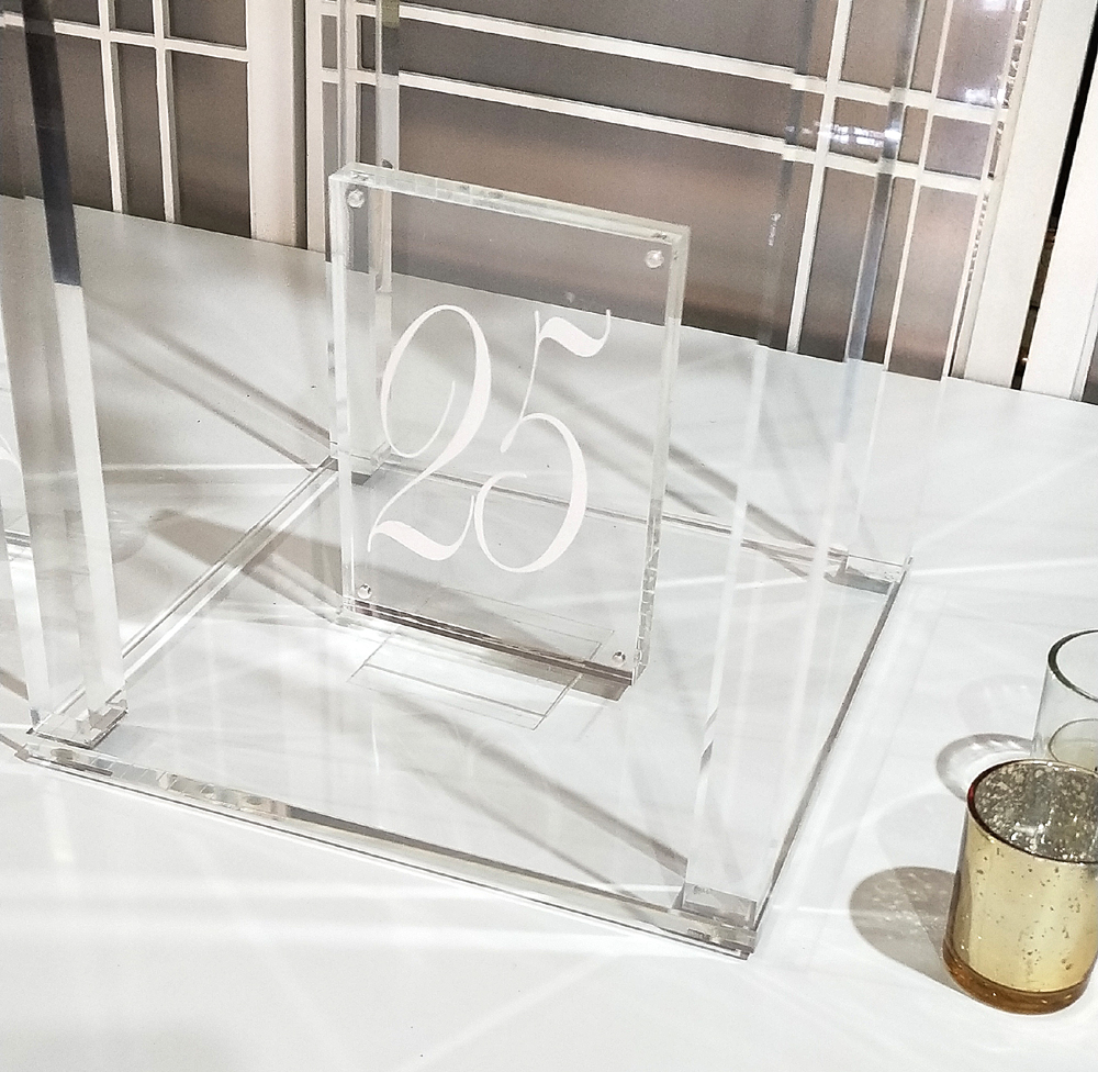 Acrylic block white table number