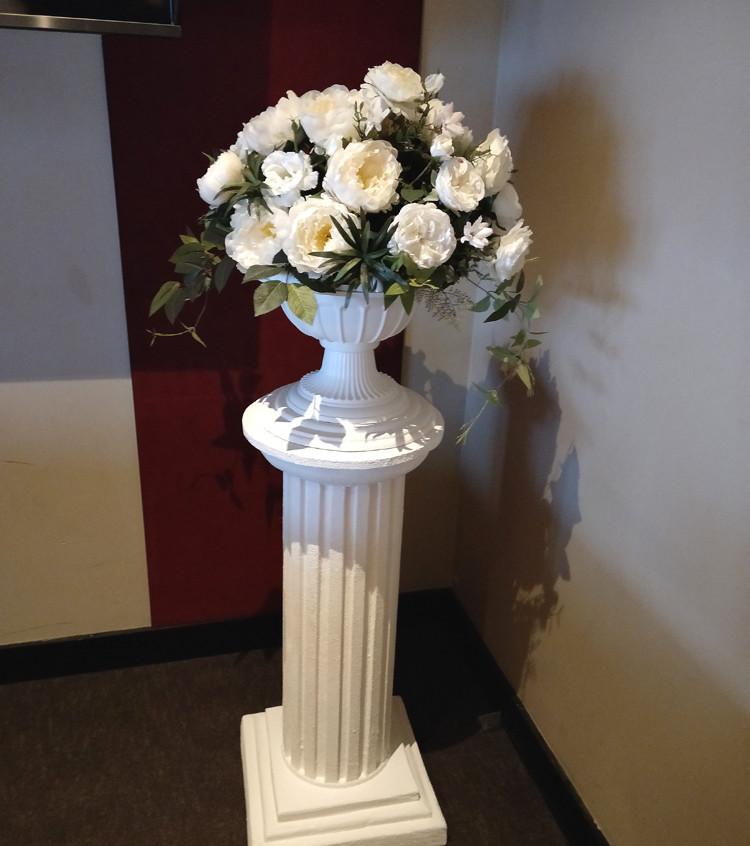 White column & white silk florals