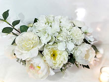 Closeup of wedding guest table floral centreiece