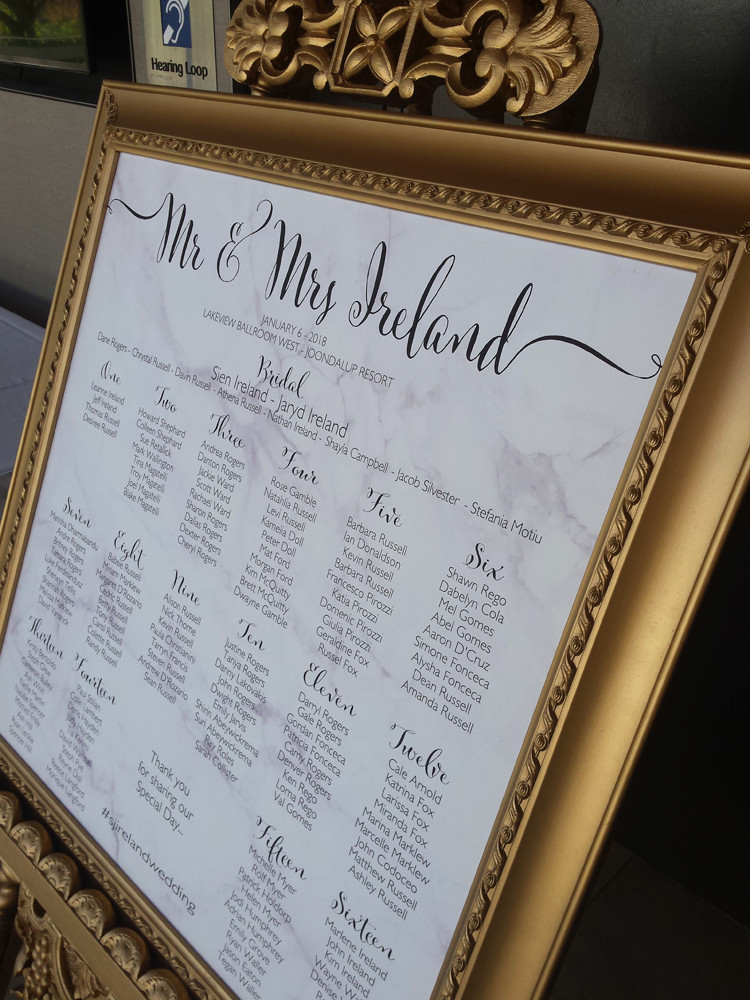 Seating Plan design with easel and frame