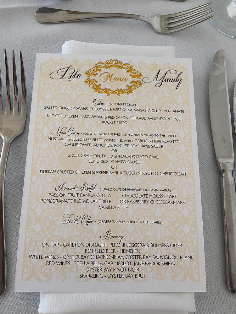 Custom A5 Menu in matching print to seating plan