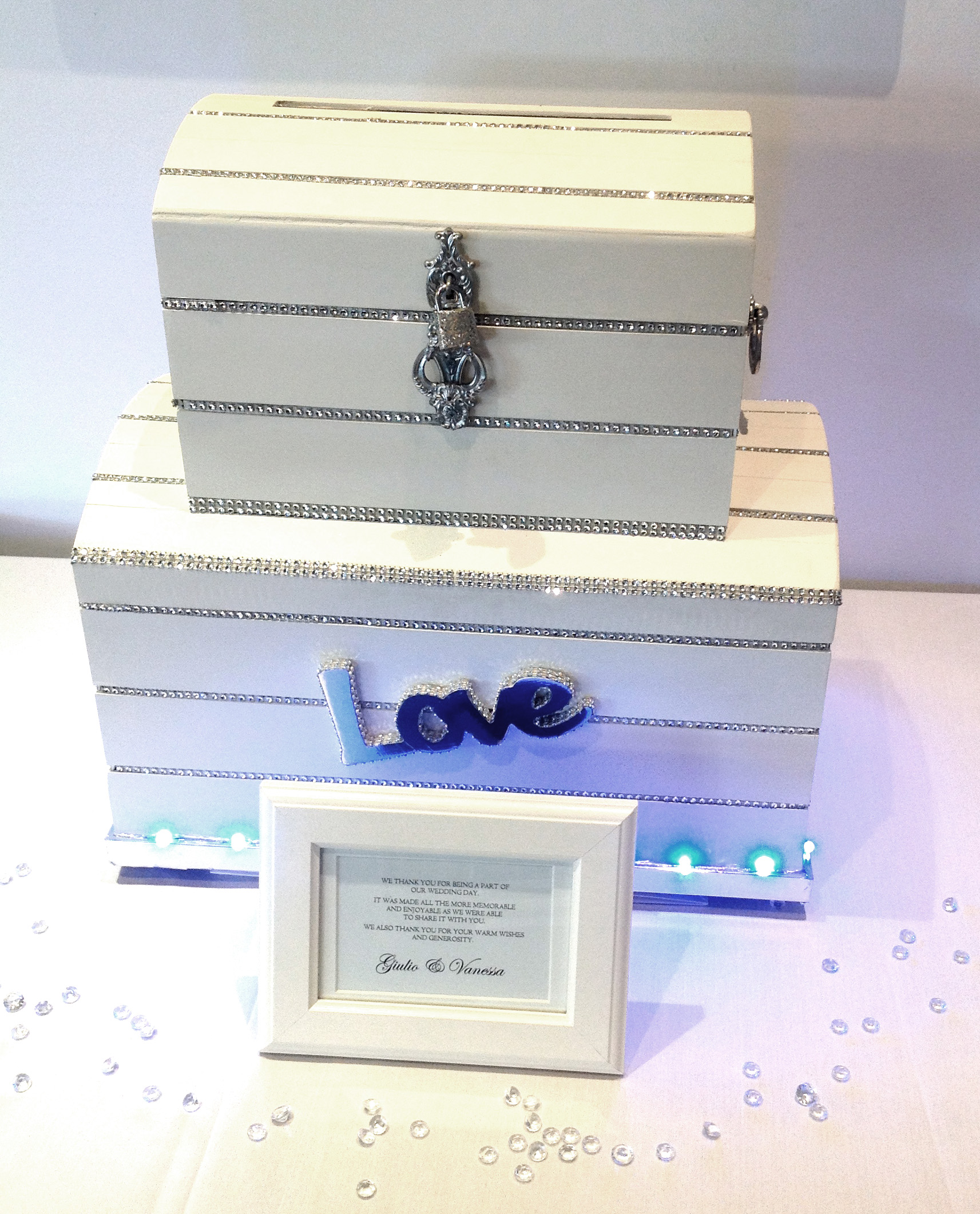 Illuminated White Wedding Chest