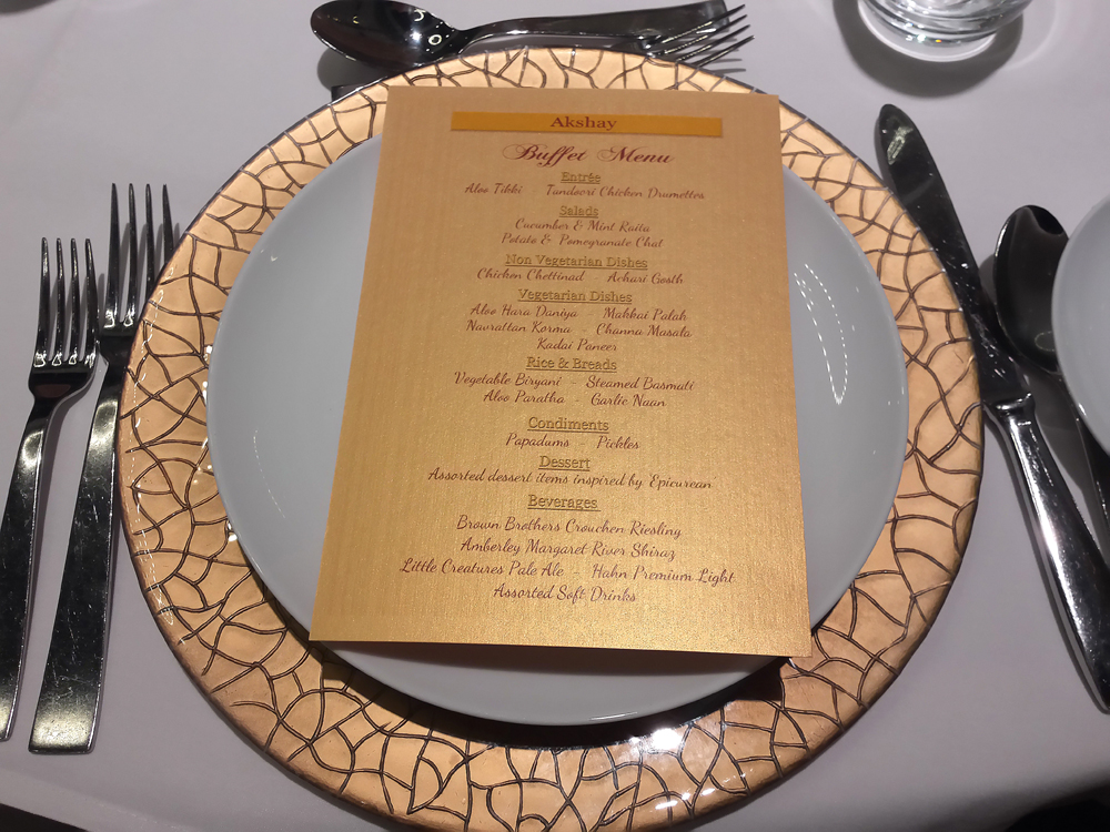 Royal Gold and Burgundy menus