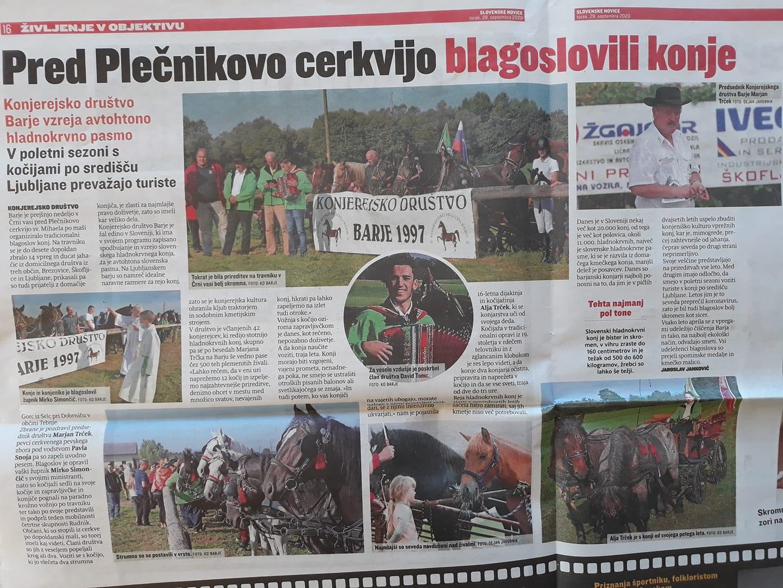 Slovenske novice, blagoslov konj na Barj