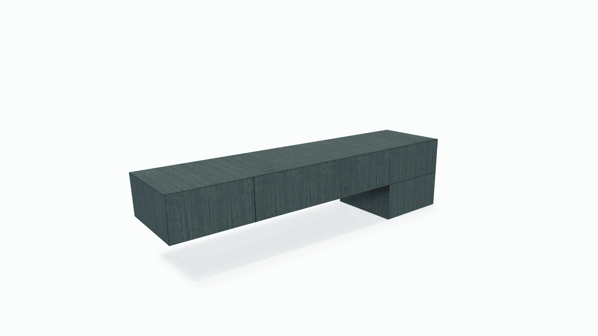CUARTO   Description :  Structure in oak veneer Suspended on wall 4 drawers included (other finishes/sizes on demand)   Size (LxWxH) :  150 x 50 x 25/50 cm 200 x 50 x 25/50 cm 250 x 50 x 25/50 cm