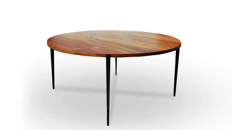 MEDELLIN  Description :  Feet in laquered metal Top in oak veneer (other finishes/sizes on demand)   Size (LxWxH) :  (Diam) 120 x (h) 75cm (Diam) 160 x (h) 75cm (Diam) 180 x (h) 75cm