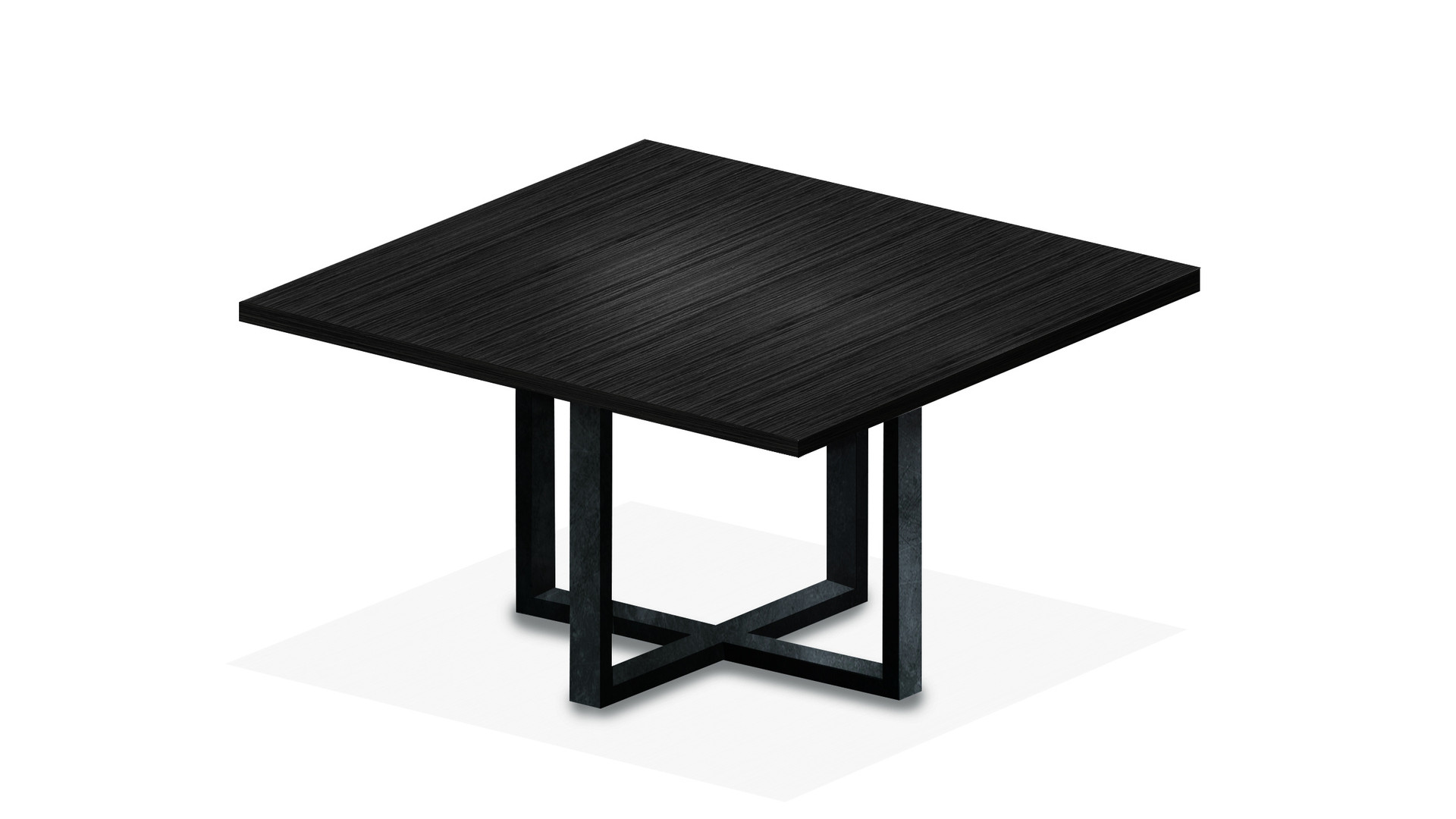 CALDERITA  Feet in laquered metal Top in oak veneer (other finishes/sizes on demand)   Size (LxWxH) :  100 x 100 x 75 cm 140 x 140 x 75 cm 180 x 180 x 75 cm