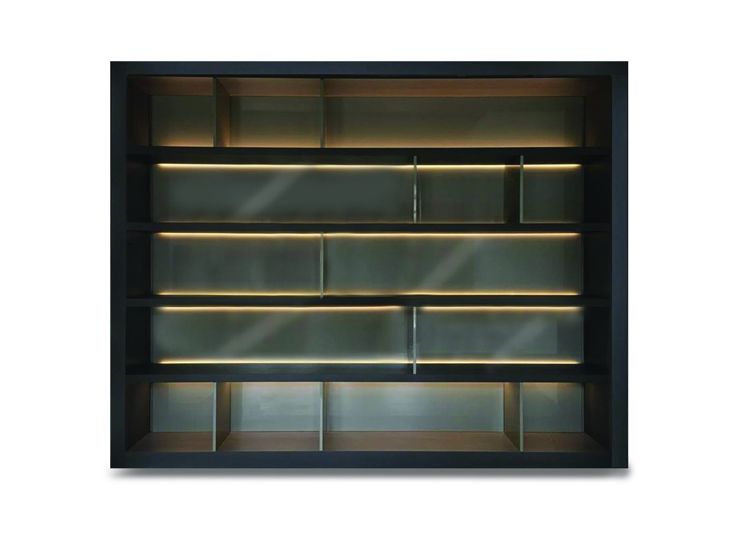 TALAMANCA  Description :  Structure in oak veneer Bottom in laquered gloss MDF Strip LED included in shelves (other finishes/sizes on demand)   Size (LxWxH) :  180 x 50 x 230 cm 270 x 50 x 230 cm 300 x 50 x 230 cm