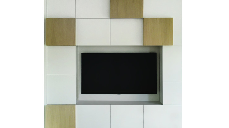 CORO  Description :  Structure in laquered MDF Cubes in oak veneer (other finishes/sizes on demand)   Size (LxWxH) :  180 x 40/45 x 230 cm 270 x 40/45 x 230 cm 300 x 40/45 x 230 cm