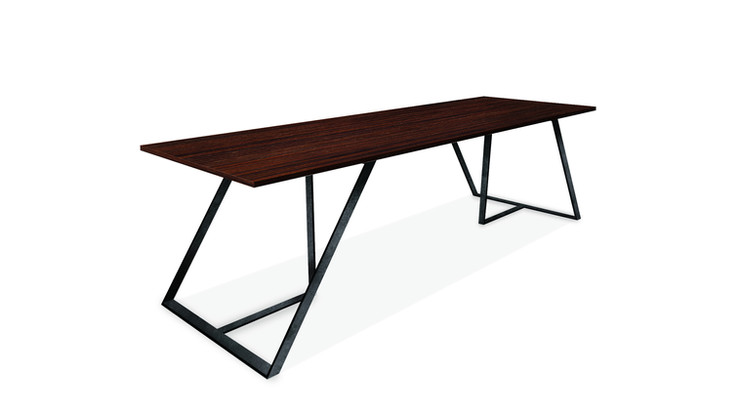 MACARAVITA   Description :  Feet in laquered metal Top in oak veneer (other finishes/sizes on demand)   Size (LxWxH) :  160 x 100 x 75 cm 200 x 100 x 75 cm 240 x 100 x 75 cm