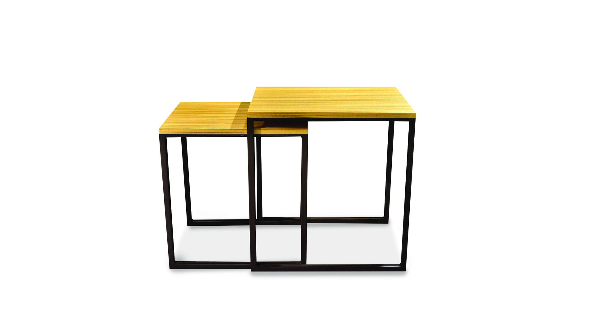 IPIALES   Description :  Feet in laquered metal Top in oak veneer (other finishes/sizes on demand)   Size (LxWxH) :  55 x 44 x 58 cm 49 x 39 x 52 cm