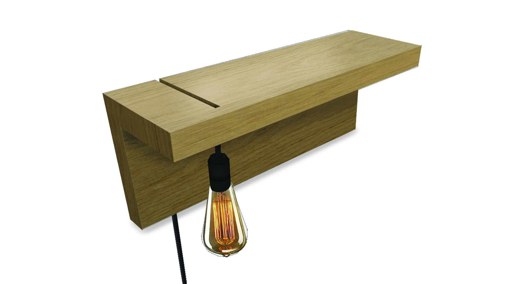 ZÁRATE   Description :  Structure in oak veneer Vintage bulb and colored wire (other finishes/sizes on demand)   Size (LxWxH) :  30 x 15 x 15 cm