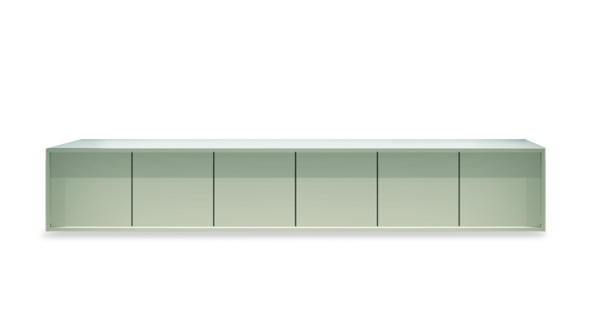 PARANÁ  Description :  Structure in laquered MDF Suspended on wall (other finishes/sizes on demand)   Size (LxWxH) :  150 x 50 x 50 cm 200 x 50 x 50 cm 240 x 50 x 50 cm
