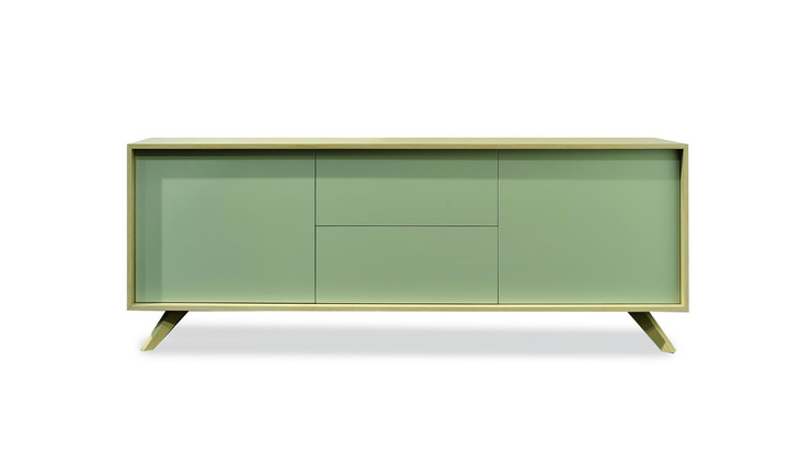 RIOJA  Description :  Structure in laquered MDF Feet in oak veneer 2 drawers included (other finishes/sizes on demand)   Size (LxWxH) :  200 x 50 x 75 cm 240 x 50 x 75 cm