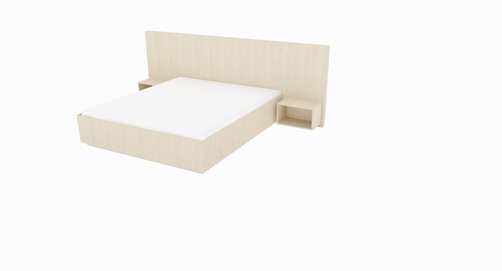 PLATA   Description :  Bed in oak veneer Mattress and bedside tables excluded (other finishes/sizes on demand)   Size (LxWxH) :  260 x 213 x 45/110 cm Mattress 140 x 200 cm  280 x 213 x 45/110 cm Mattress 160 x 200 cm  300 x 213 x 45/110 cm Mattress 180 x 200 cm