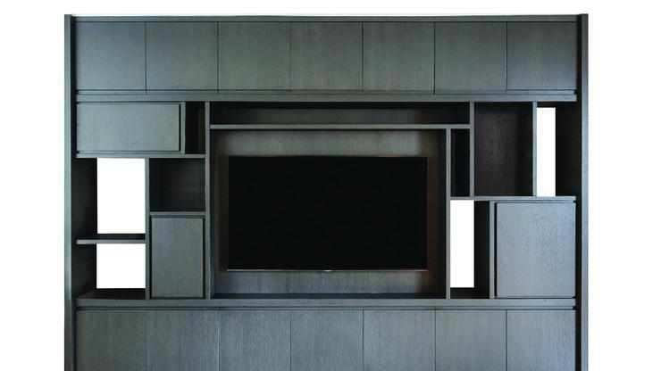 BARUTA TV   Description :  Structure in oak veneer Cube doors in oak veneer (other finishes/sizes on demand)   Size (LxWxH) :  180 x 40 x 230 cm 270 x 40 x 230 cm 360 x 40 x 230 cm