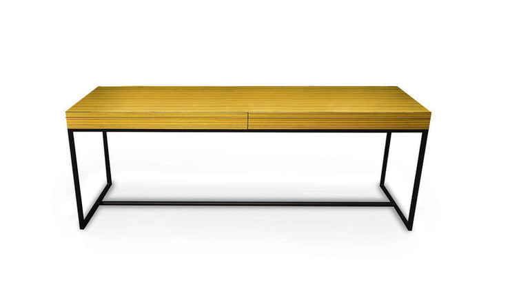 MODESTO  Description :  Feet in laquered metal Top in zebrano gloss 2 drawers included (other finishes/sizes on demand)   Size (LxWxH) :  160 x 40 x 75 cm 180 x 40 x 75 cm 200 x 40 x 75 cm