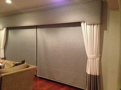 Roller Shades with Drapery & Cornice