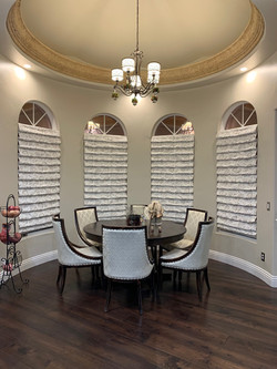 Dining Room with Hobbled Roman Shades