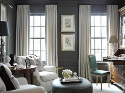 Ceiling mount drapery in gray room