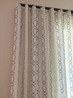 Ripple fold drapery with pattern