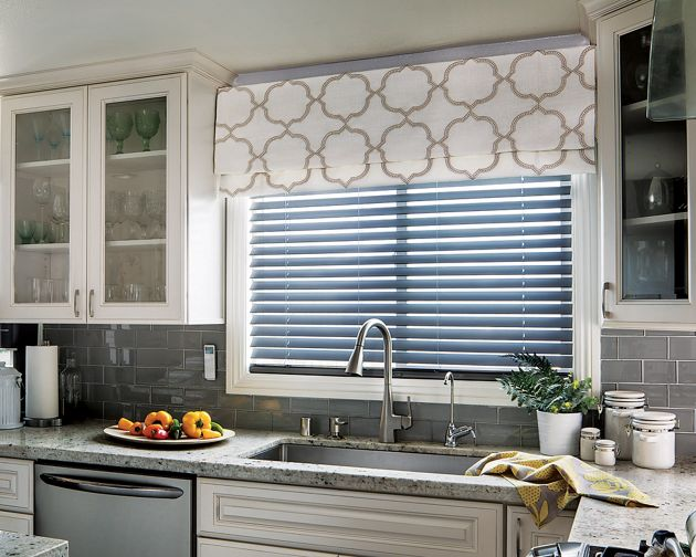 Blinds with Valance In Kitchen