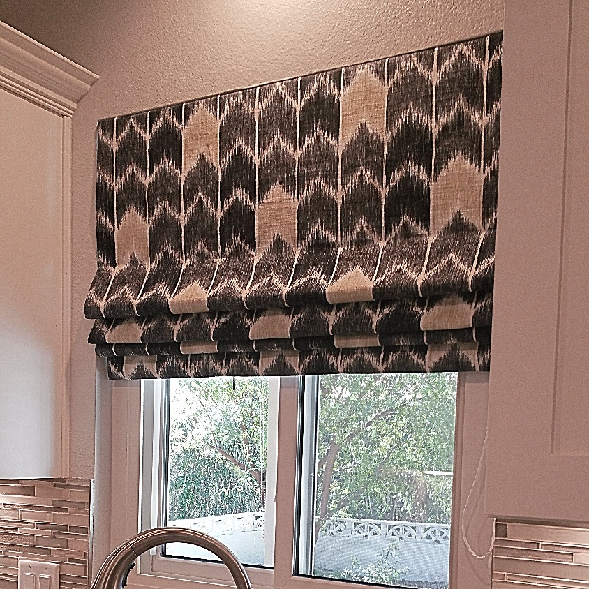 Chevron inspired roman shade