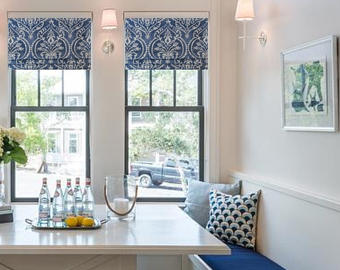 Roman shades blue denim at kitchen nook