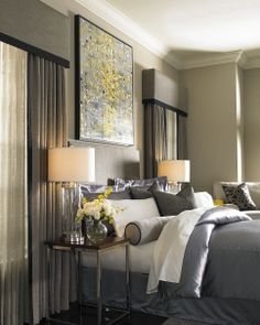 gray contemporary bedroom cornices and drapery