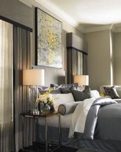 gray contemporary bedroom cornices and drapery