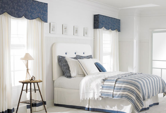 Decatur valance and drapery panels master bedroom blue