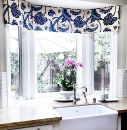 Bay Window Valance with Inverted pleat a