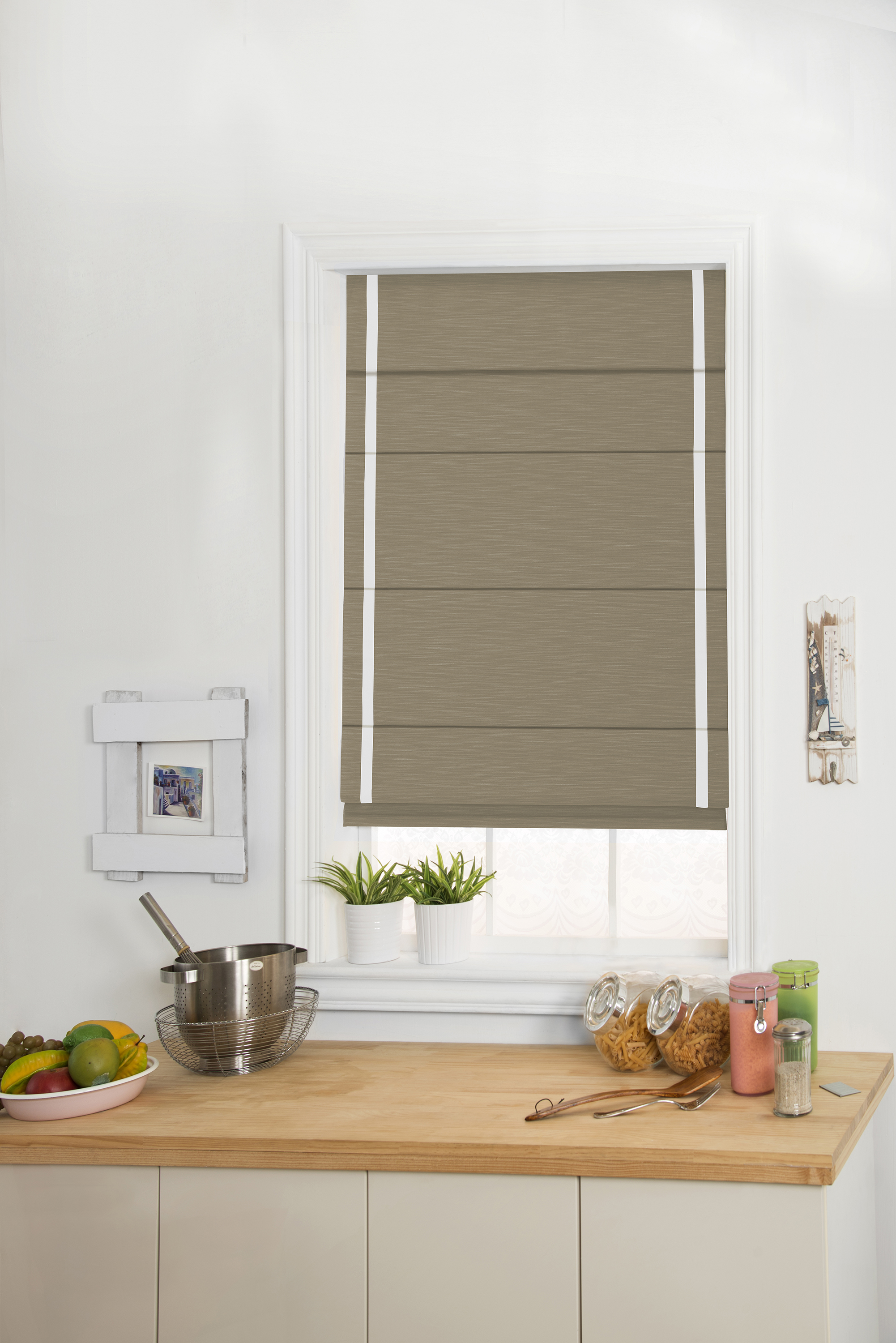 Roman Shades with Ribbon Banding