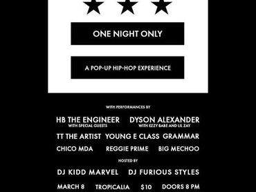 EVENT ALERT: One Night Only 'A Pop-Up Hip-Hop Experience'