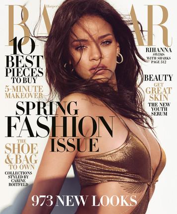 Rihanna swins with the SHARKS!