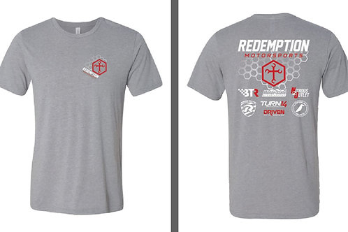 Redemption Motorsports V2 Heather Grey w/White & Red T-Shirt