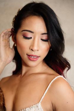 Soft Mauve Bridal Makeup & Waves