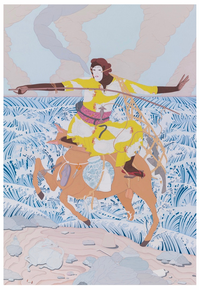 Gouache and watercolour painting by artist Kushana Bush displayed in the exhibition Under the Spell of the Image at The Approach Gallery. Review by Touch the Painting
