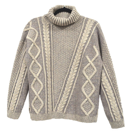 Fisherman Out of Ireland - Two tone Aran Cable Polo neck Sweater