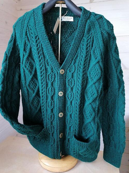Aran hand knit sweater - V Neck Cardigan