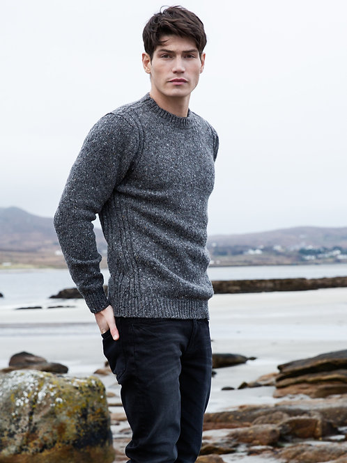 Fisherman Out of Ireland -Crew Neck Tweed Men's Sweater