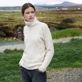 Fisherman Out of Ireland - Aran Cable Polo neck Sweater