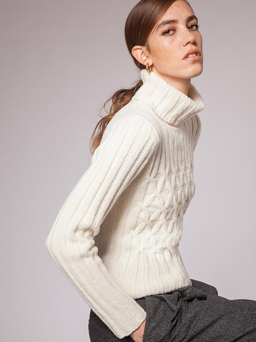 Fisherman Out of Ireland - Ribbed Polo Neck Sweater with criss cross cable
