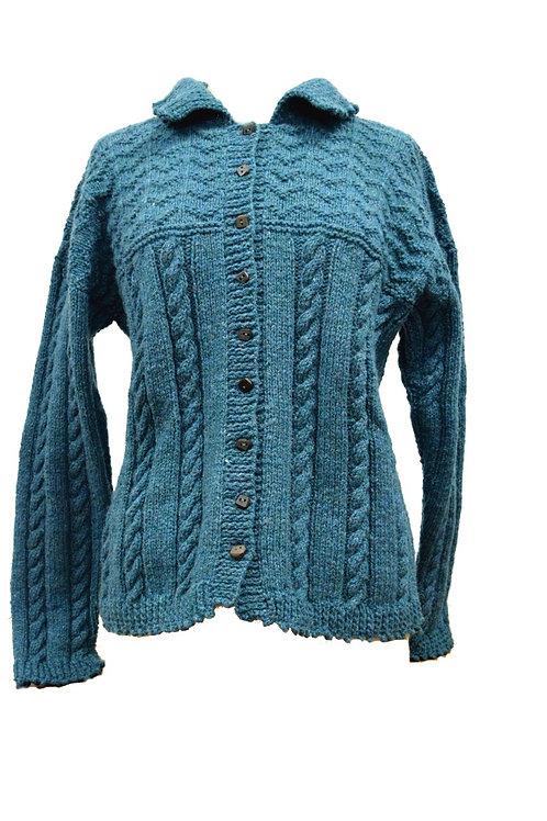 Blue woman's Aran cardigan Hand knit with Irish wool.